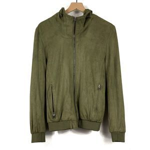 Zara Man Olive Perforated Faux Suede Hooded Jacket